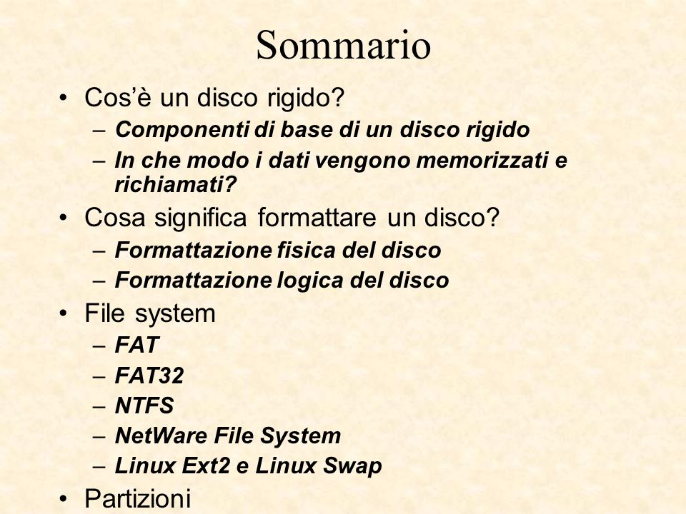 FAT32 Il file system FAT32 può essere utilizzato con: Windows 95 OEM Service Release 2 (versione 4.00.950B), Windows 98 Windows Me Windows 2000 Windows XP