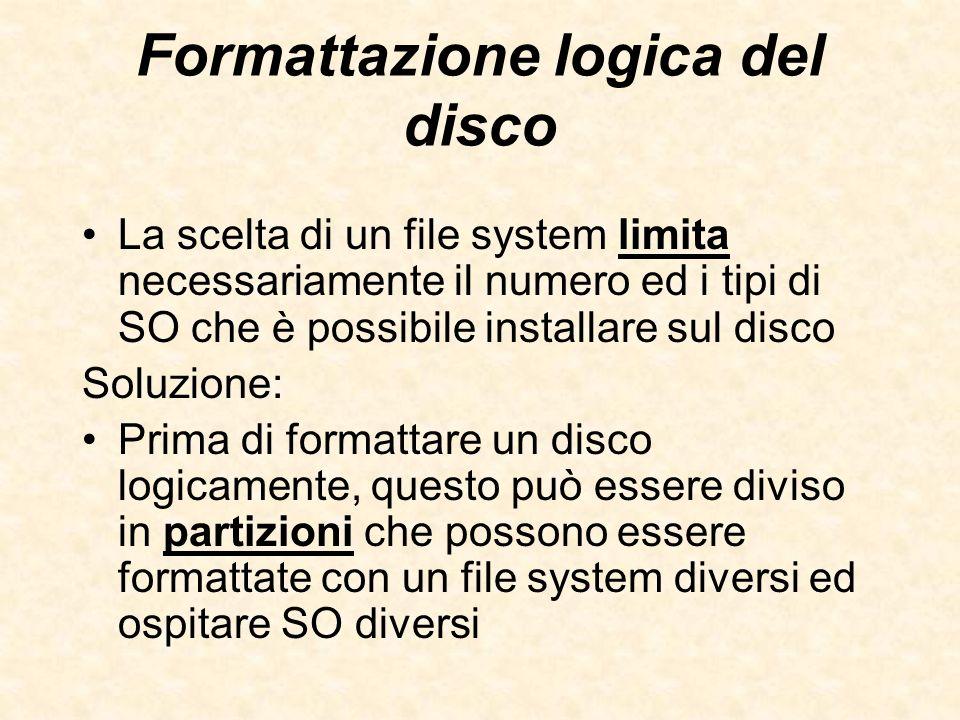 Formattazione logica del disco La scelta di un file system limita necessariamente il numero ed i tipi di SO che è possibile installare sul disco Soluz