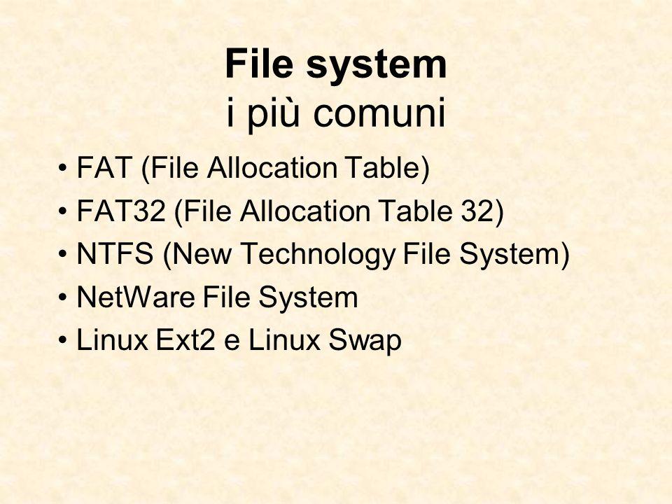 File system i più comuni FAT (File Allocation Table) FAT32 (File Allocation Table 32) NTFS (New Technology File System) NetWare File System Linux Ext2