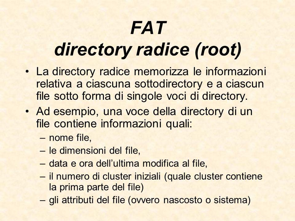 FAT directory radice (root) La directory radice memorizza le informazioni relativa a ciascuna sottodirectory e a ciascun file sotto forma di singole v