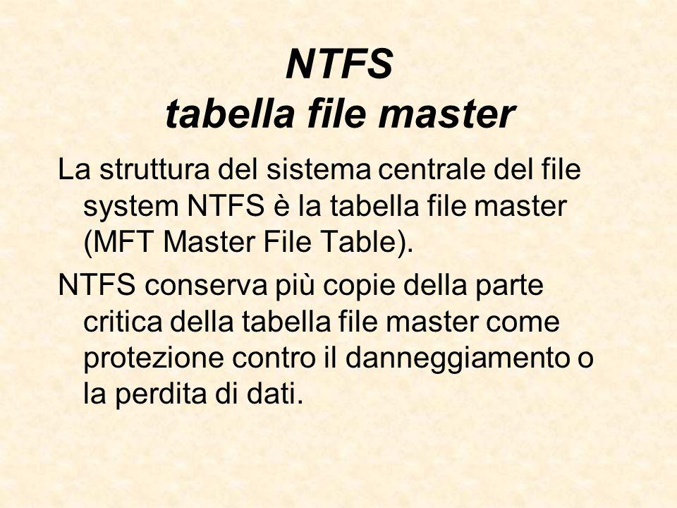 NTFS tabella file master La struttura del sistema centrale del file system NTFS è la tabella file master (MFT Master File Table). NTFS conserva più co