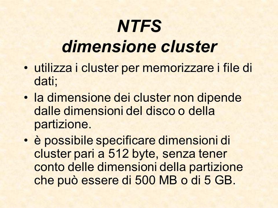 NTFS dimensione cluster utilizza i cluster per memorizzare i file di dati; la dimensione dei cluster non dipende dalle dimensioni del disco o della pa