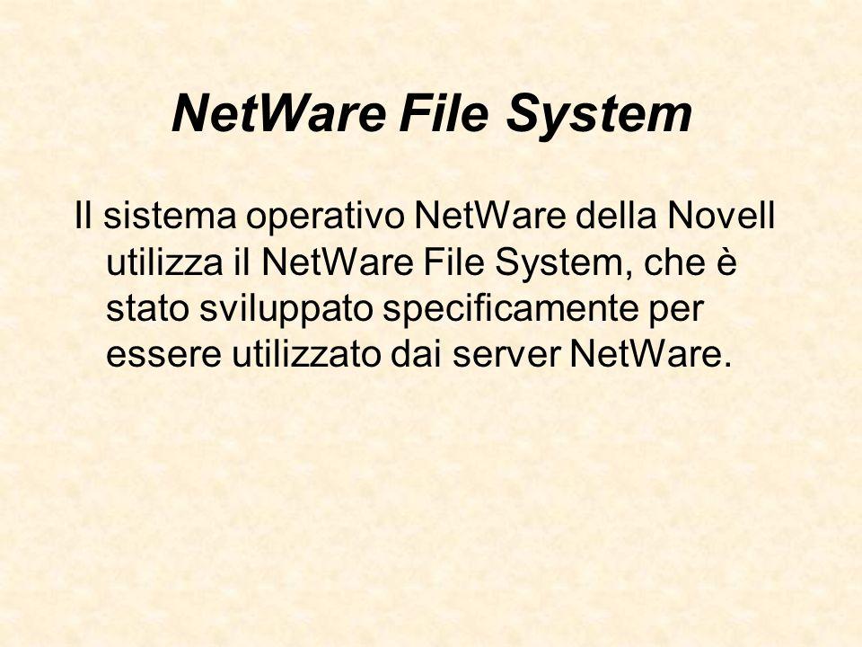 NetWare File System Il sistema operativo NetWare della Novell utilizza il NetWare File System, che è stato sviluppato specificamente per essere utiliz