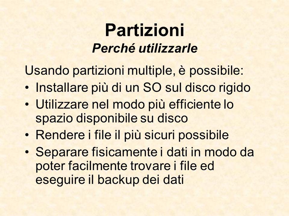 Partizioni Perché utilizzarle Usando partizioni multiple, è possibile: Installare più di un SO sul disco rigido Utilizzare nel modo più efficiente lo