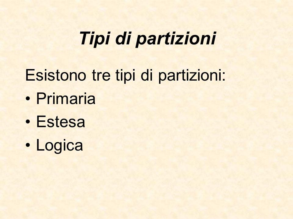 Tipi di partizioni Esistono tre tipi di partizioni: Primaria Estesa Logica