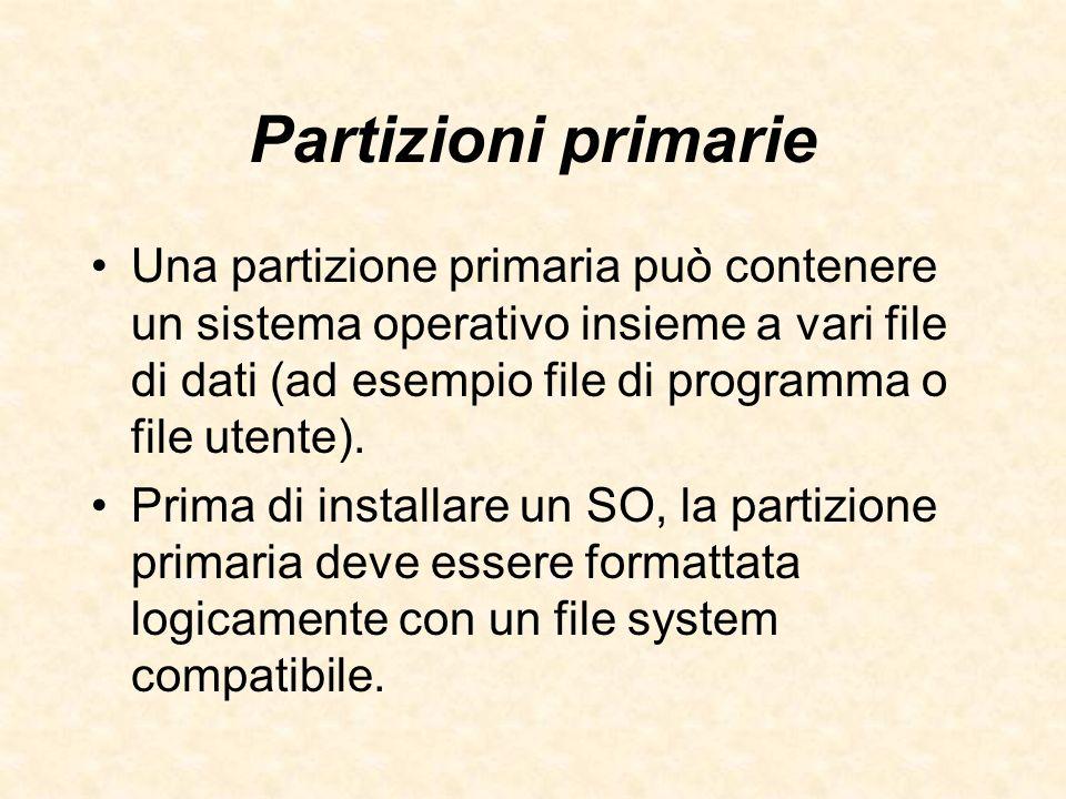 Partizioni primarie Una partizione primaria può contenere un sistema operativo insieme a vari file di dati (ad esempio file di programma o file utente