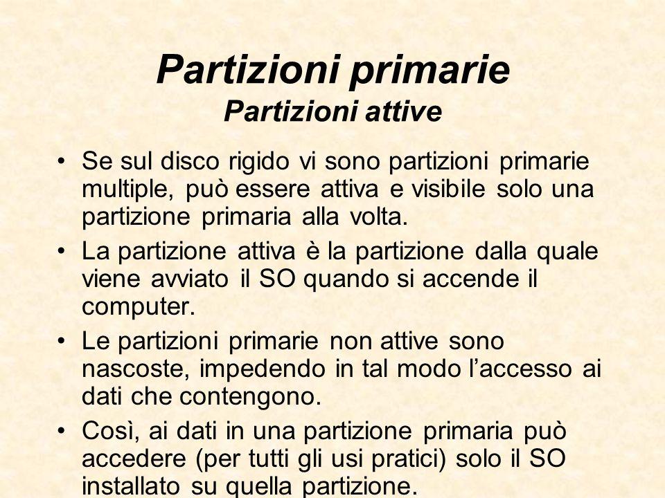 Partizioni primarie Partizioni attive Se sul disco rigido vi sono partizioni primarie multiple, può essere attiva e visibile solo una partizione prima