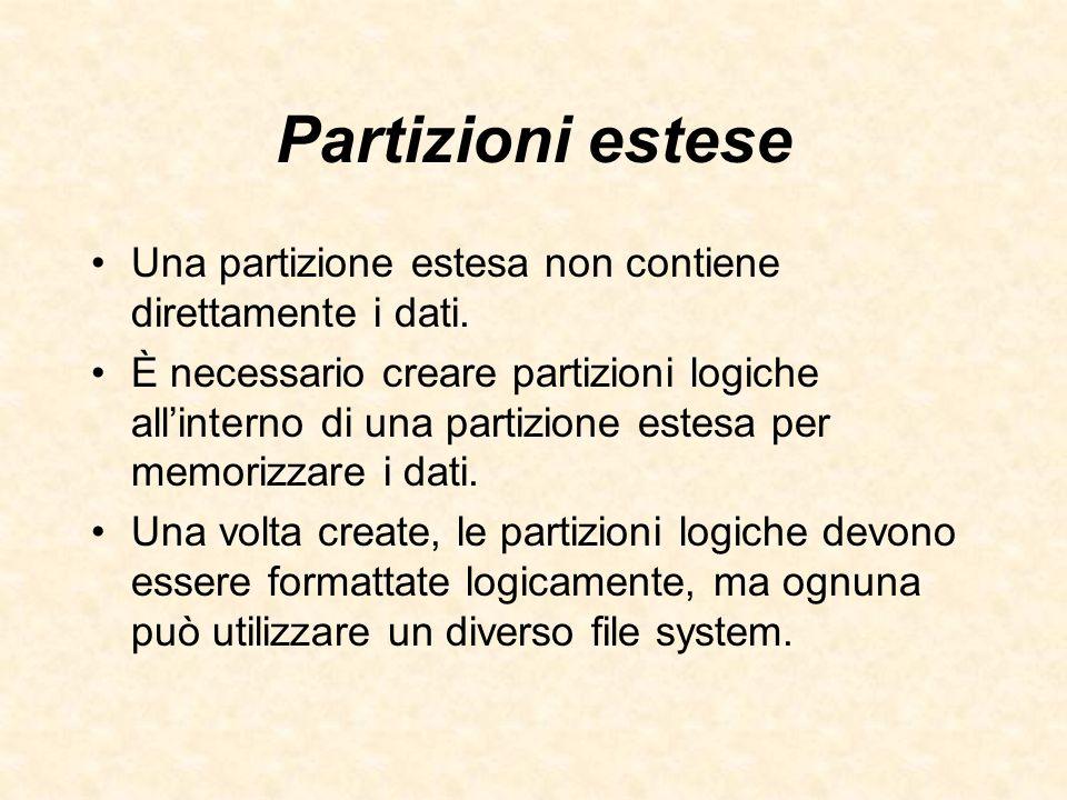 Partizioni estese Una partizione estesa non contiene direttamente i dati. È necessario creare partizioni logiche allinterno di una partizione estesa p