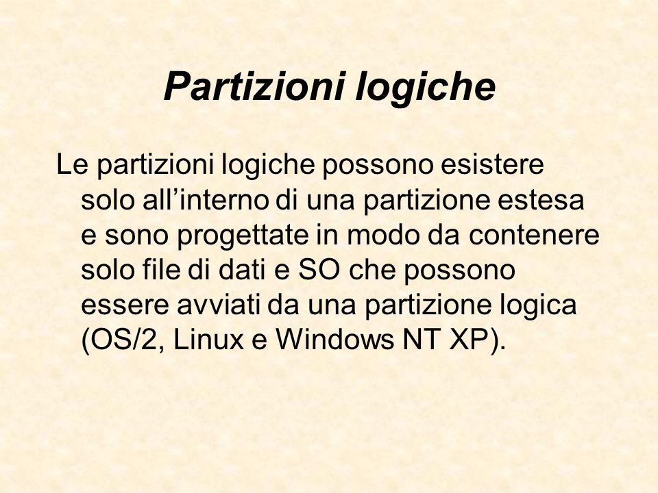 Partizioni logiche Le partizioni logiche possono esistere solo allinterno di una partizione estesa e sono progettate in modo da contenere solo file di