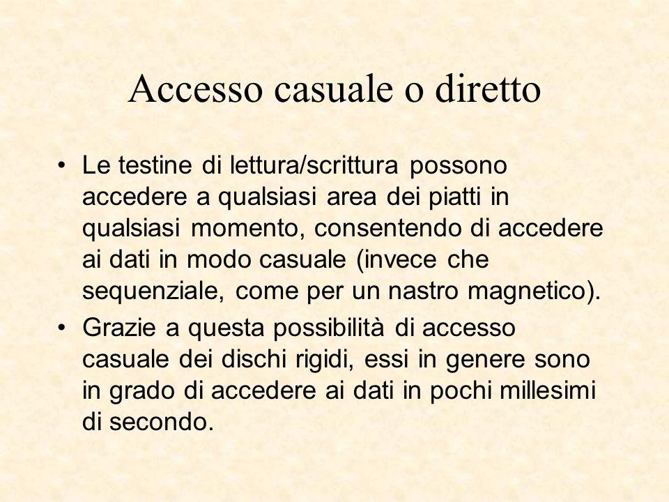 Accesso casuale o diretto Le testine di lettura/scrittura possono accedere a qualsiasi area dei piatti in qualsiasi momento, consentendo di accedere a