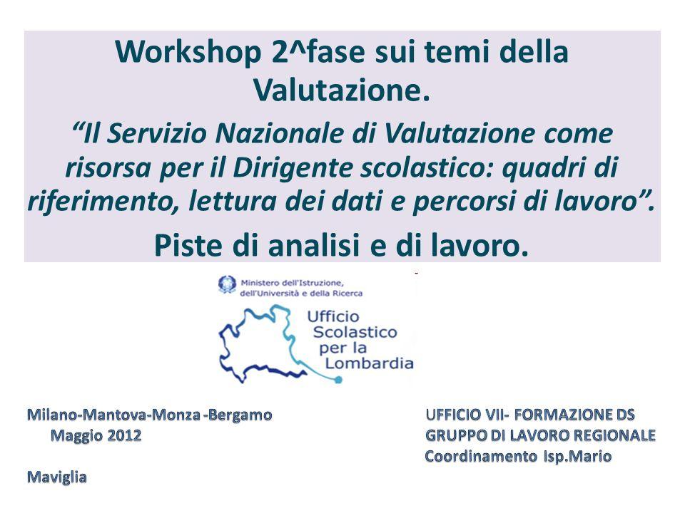 Workshop 2^fase sui temi della Valutazione. Il Servizio Nazionale di Valutazione come risorsa per il Dirigente scolastico: quadri di riferimento, lett