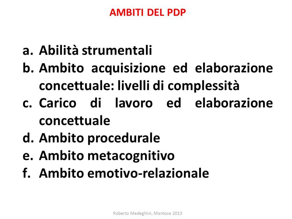 AMBITI DEL PDP a.Abilità strumentali b.Ambito acquisizione ed elaborazione concettuale: livelli di complessità c.Carico di lavoro ed elaborazione conc