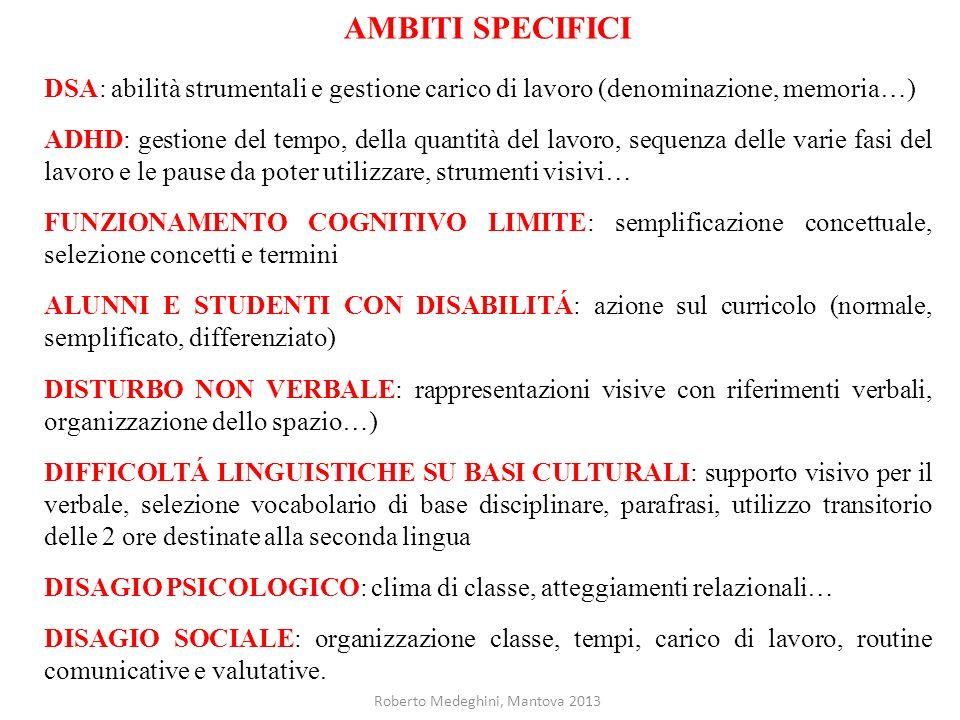 AMBITI SPECIFICI DSA: abilità strumentali e gestione carico di lavoro (denominazione, memoria…) ADHD: gestione del tempo, della quantità del lavoro, s