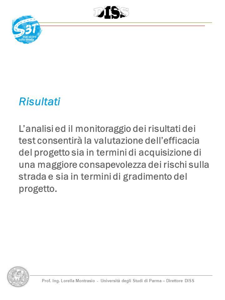Prof. Ing. Lorella Montrasio - Università degli Studi di Parma – Direttore DISS Risultati Lanalisi ed il monitoraggio dei risultati dei test consentir