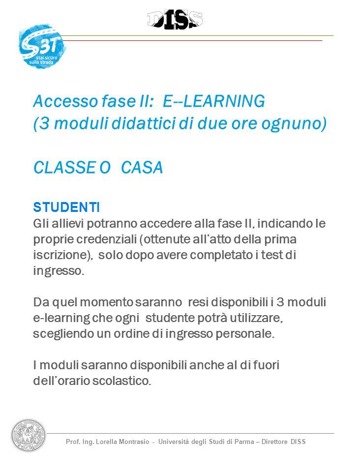 Prof. Ing. Lorella Montrasio - Università degli Studi di Parma – Direttore DISS Accesso fase II: E--LEARNING (3 moduli didattici di due ore ognuno) CL