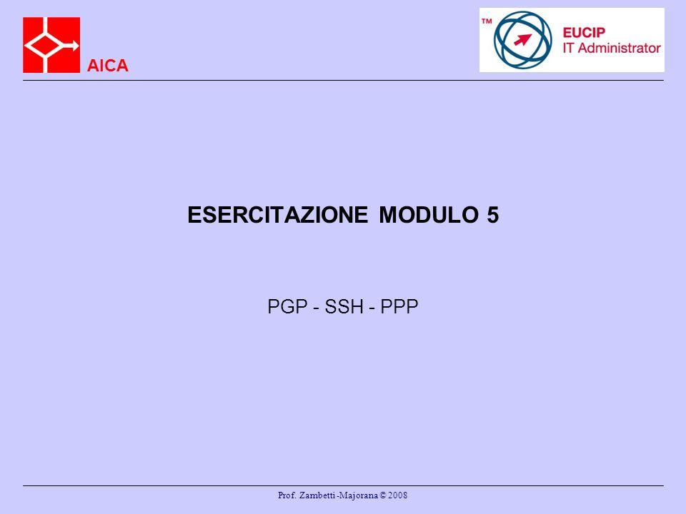 AICA Prof. Zambetti -Majorana © 2008 ESERCITAZIONE MODULO 5 PGP - SSH - PPP
