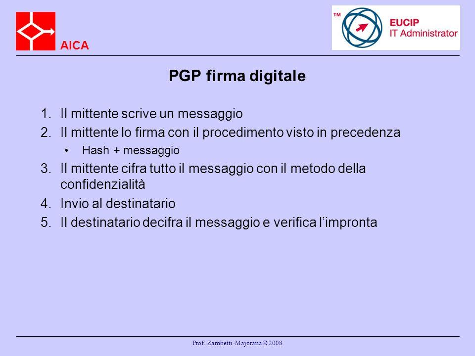 AICA Prof. Zambetti -Majorana © 2008 PGP firma digitale 1.Il mittente scrive un messaggio 2.Il mittente lo firma con il procedimento visto in preceden