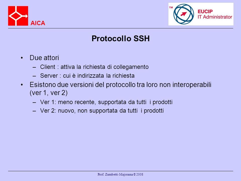 AICA Prof. Zambetti -Majorana © 2008 Protocollo SSH Due attori –Client : attiva la richiesta di collegamento –Server : cui è indirizzata la richiesta