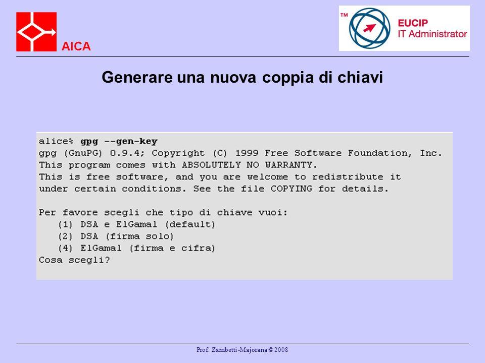AICA Prof. Zambetti -Majorana © 2008 Generare una nuova coppia di chiavi