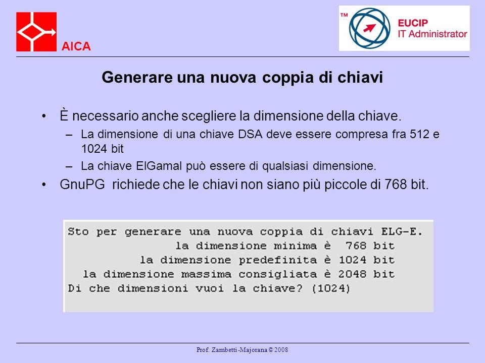 AICA Prof. Zambetti -Majorana © 2008 Generare una nuova coppia di chiavi È necessario anche scegliere la dimensione della chiave. –La dimensione di un