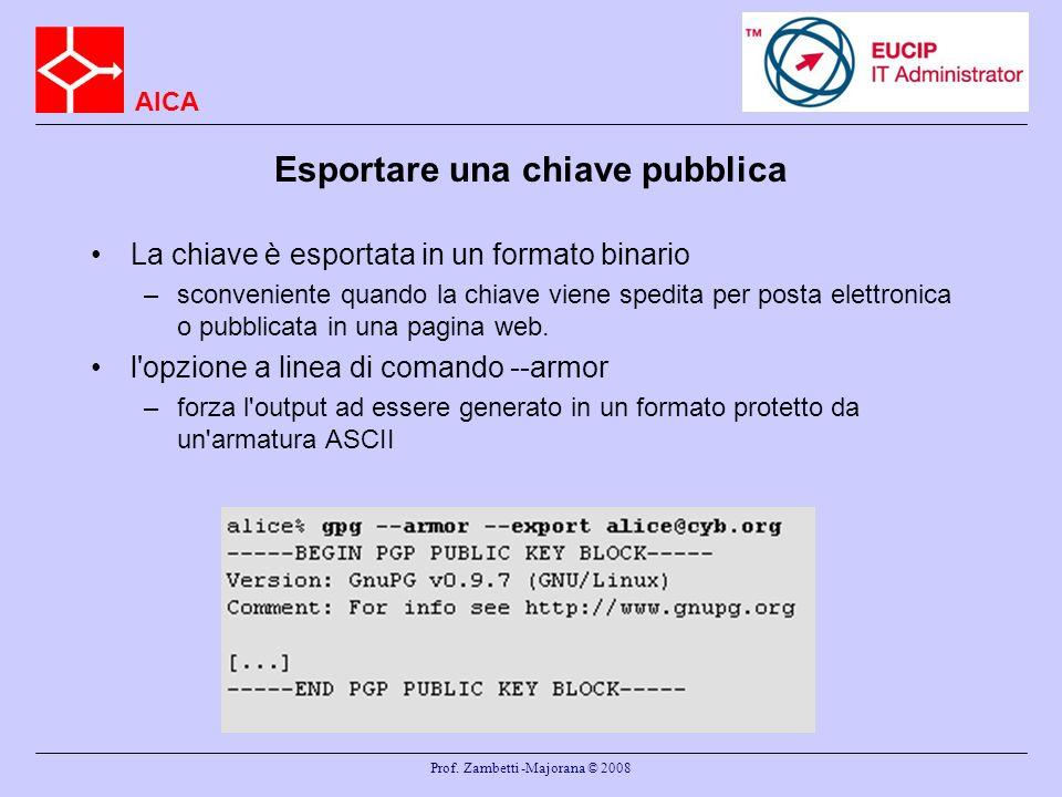 AICA Prof. Zambetti -Majorana © 2008 Esportare una chiave pubblica La chiave è esportata in un formato binario –sconveniente quando la chiave viene sp