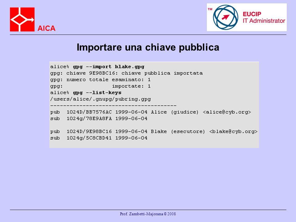 AICA Prof. Zambetti -Majorana © 2008 Importare una chiave pubblica