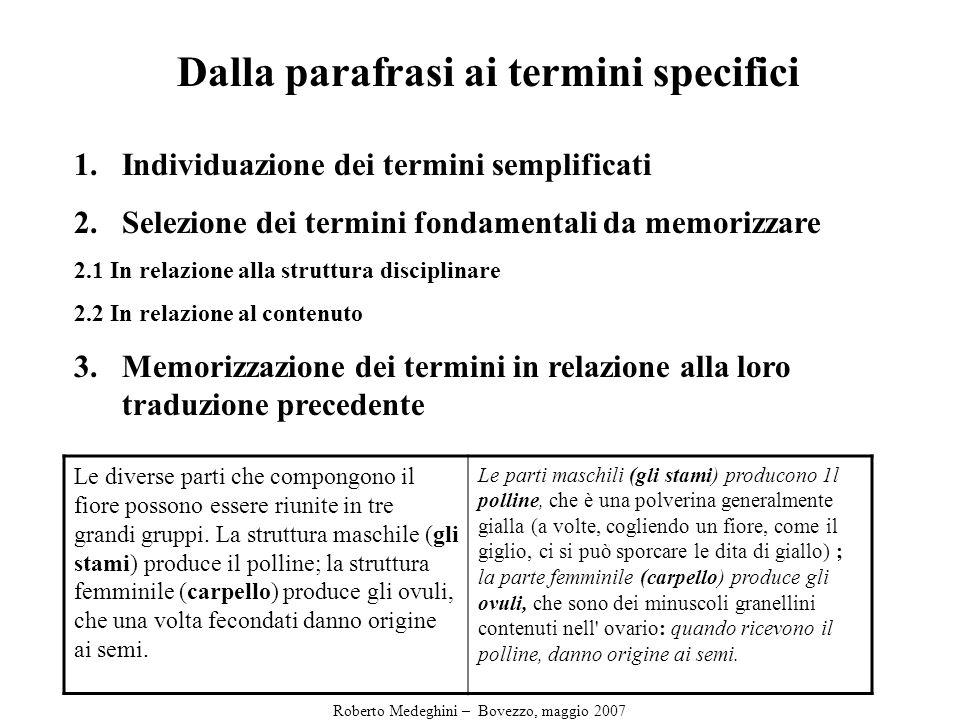Dalla parafrasi ai termini specifici 1.Individuazione dei termini semplificati 2.Selezione dei termini fondamentali da memorizzare 2.1 In relazione alla struttura disciplinare 2.2 In relazione al contenuto 3.