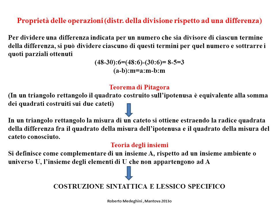 Proprietà delle operazioni (distr. della divisione rispetto ad una differenza) Per dividere una differenza indicata per un numero che sia divisore di