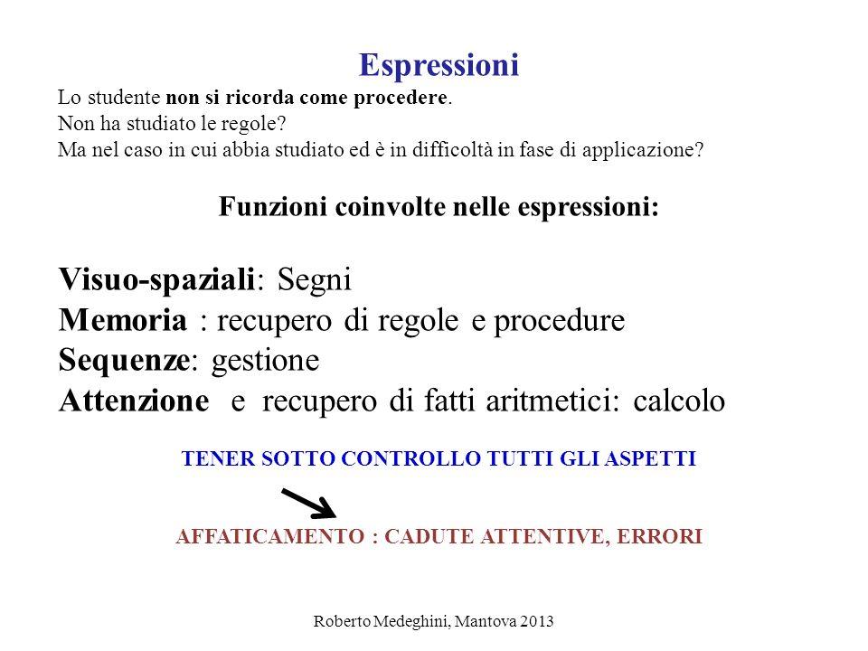 Roberto Medeghini, Mantova 2013 Espressioni Lo studente non si ricorda come procedere. Non ha studiato le regole? Ma nel caso in cui abbia studiato ed