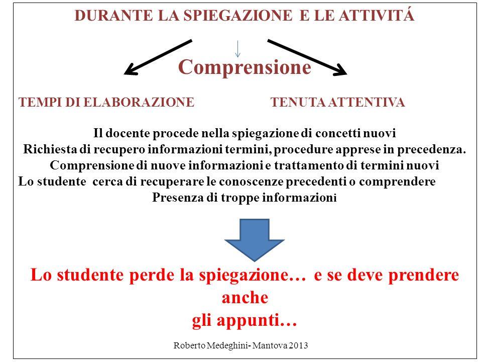 Roberto Medeghini- Mantova 2013 DURANTE LA SPIEGAZIONE E LE ATTIVITÁ Comprensione TEMPI DI ELABORAZIONE TENUTA ATTENTIVA Il docente procede nella spie
