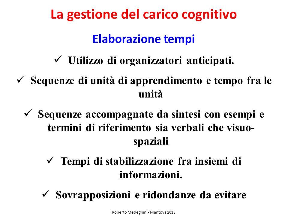 La gestione del carico cognitivo Elaborazione tempi Utilizzo di organizzatori anticipati. Sequenze di unità di apprendimento e tempo fra le unità Sequ