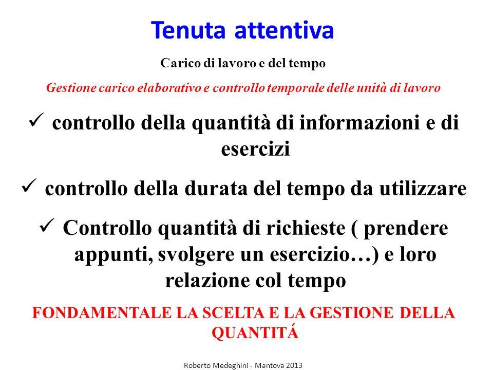 Tenuta attentiva Carico di lavoro e del tempo Gestione carico elaborativo e controllo temporale delle unità di lavoro controllo della quantità di info