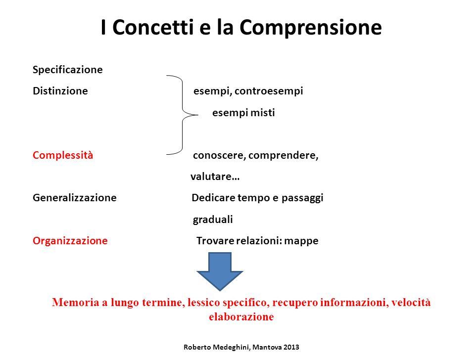 I Concetti e la Comprensione Specificazione Distinzione esempi, controesempi esempi misti Complessità conoscere, comprendere, valutare… Generalizzazio