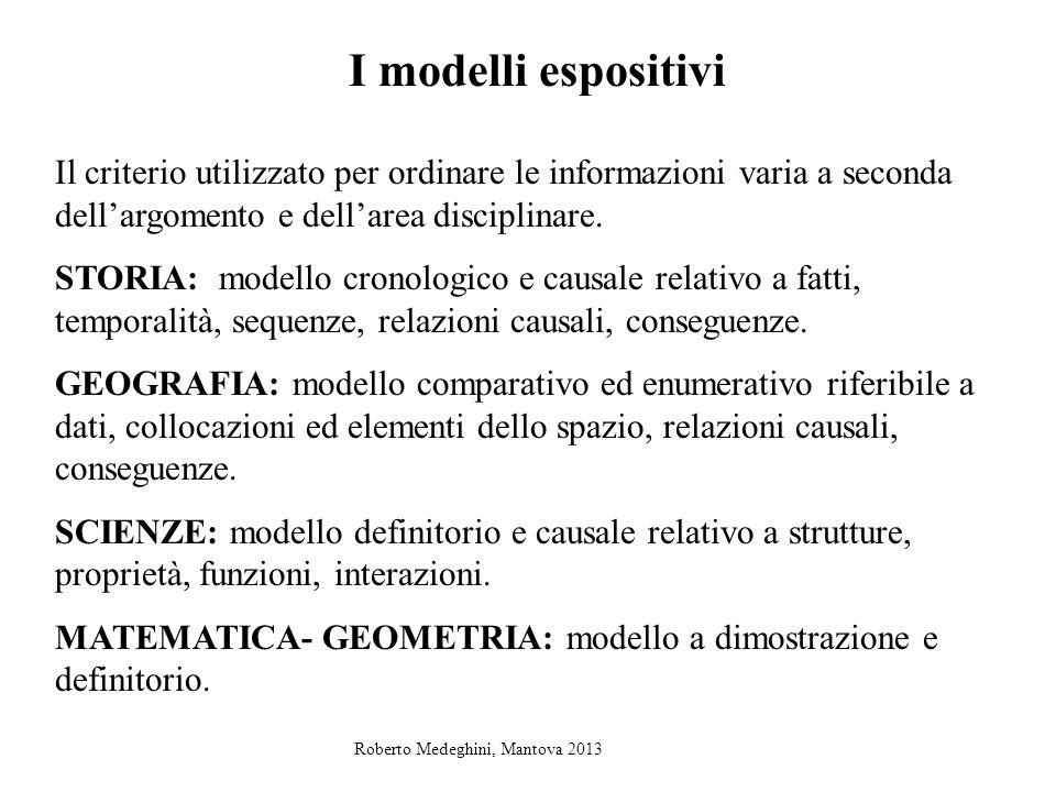 I modelli espositivi Il criterio utilizzato per ordinare le informazioni varia a seconda dellargomento e dellarea disciplinare. STORIA: modello cronol