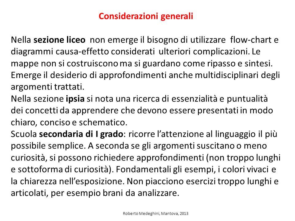 Considerazioni generali Nella sezione liceo non emerge il bisogno di utilizzare flow-chart e diagrammi causa-effetto considerati ulteriori complicazio