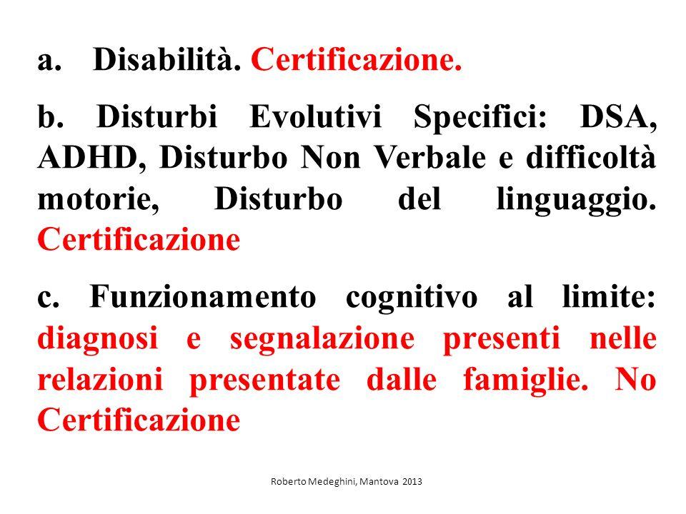 a.Disabilità. Certificazione. b. Disturbi Evolutivi Specifici: DSA, ADHD, Disturbo Non Verbale e difficoltà motorie, Disturbo del linguaggio. Certific