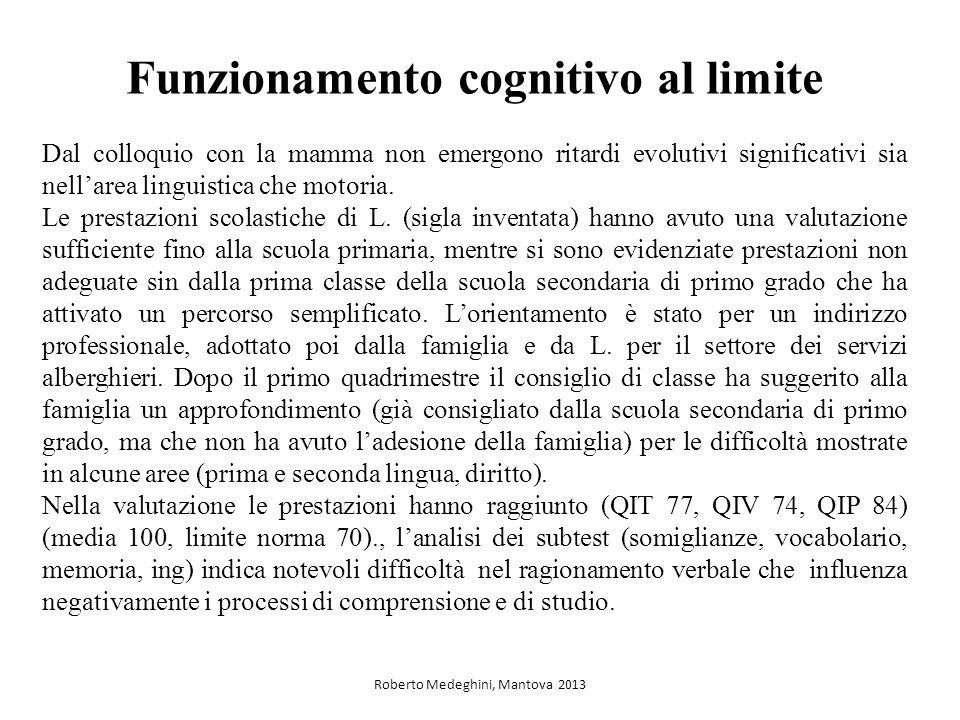 Funzionamento cognitivo al limite Dal colloquio con la mamma non emergono ritardi evolutivi significativi sia nellarea linguistica che motoria. Le pre
