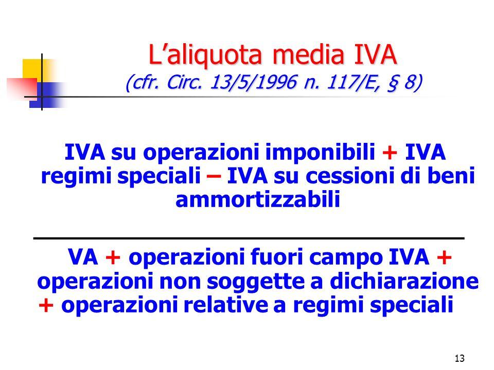13 Laliquota media IVA cfr. Circ. 13/5/1996 n. 117/E, § 8 Laliquota media IVA (cfr.