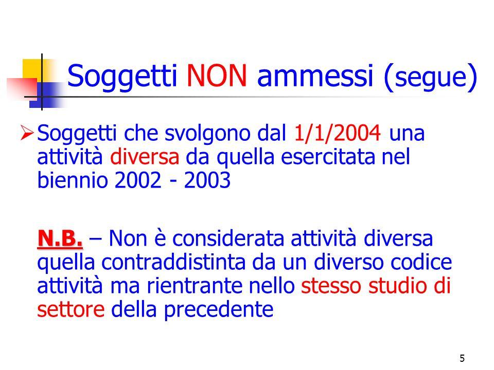 5 Soggetti NON ammessi ( segue ) Soggetti che svolgono dal 1/1/2004 una attività diversa da quella esercitata nel biennio 2002 - 2003 N.B.