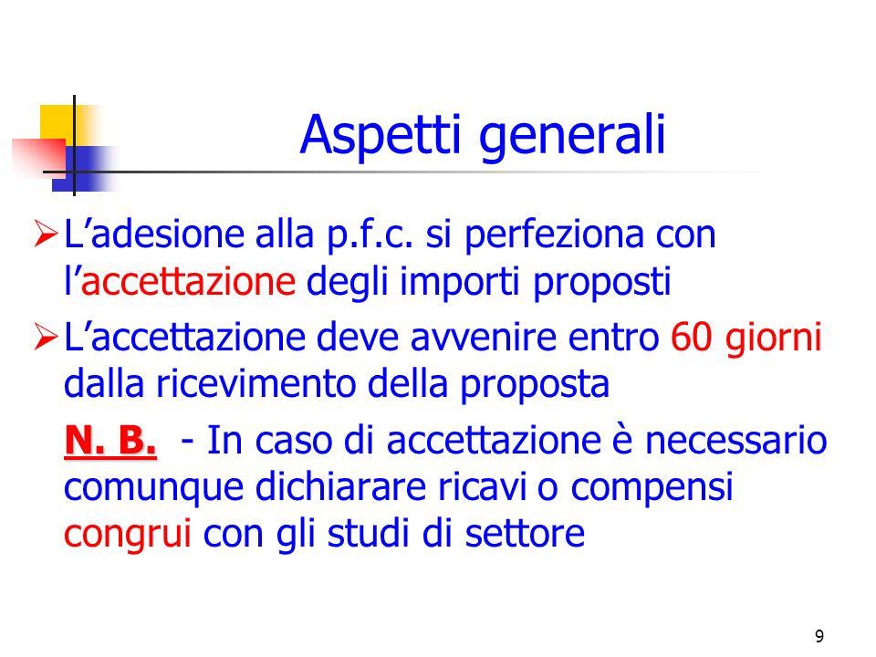 9 Aspetti generali Ladesione alla p.f.c.