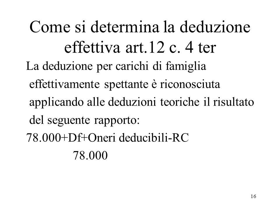 16 Come si determina la deduzione effettiva art.12 c.