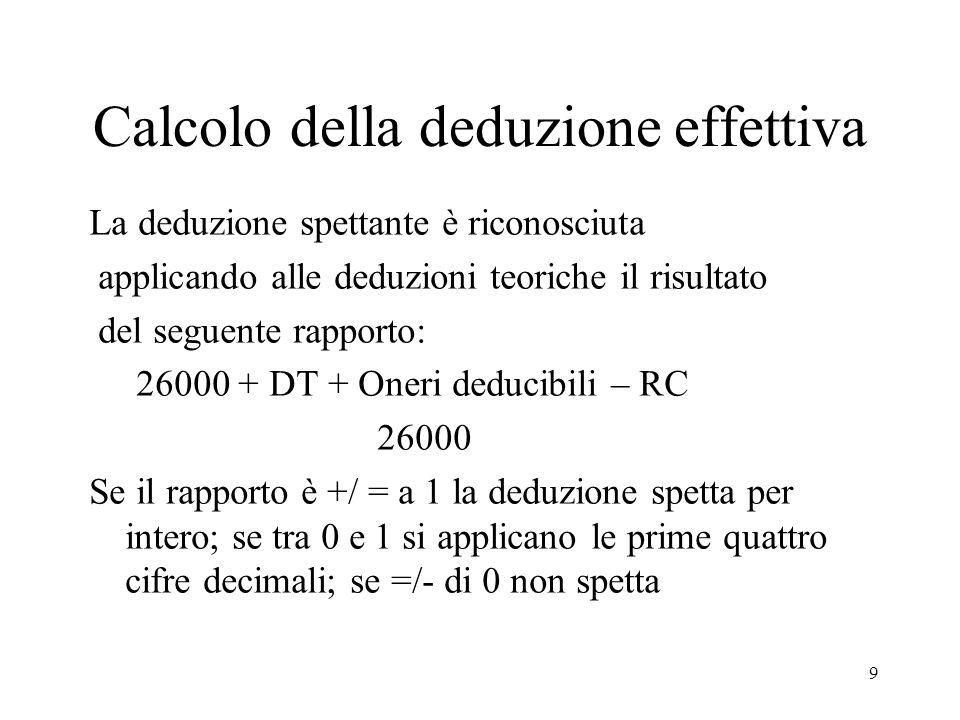 9 Calcolo della deduzione effettiva La deduzione spettante è riconosciuta applicando alle deduzioni teoriche il risultato del seguente rapporto: 26000 + DT + Oneri deducibili – RC 26000 Se il rapporto è +/ = a 1 la deduzione spetta per intero; se tra 0 e 1 si applicano le prime quattro cifre decimali; se =/- di 0 non spetta