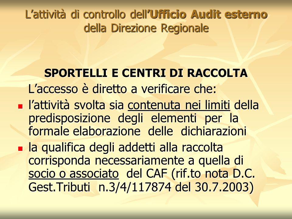 Lattività di controllo dellUfficio Audit esterno della Direzione Regionale SPORTELLI E CENTRI DI RACCOLTA Laccesso è diretto a verificare che: Laccess