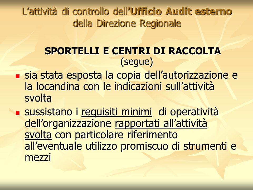 Lattività di controllo dellUfficio Audit esterno della Direzione Regionale SPORTELLI E CENTRI DI RACCOLTA (segue) sia stata esposta la copia dellautor