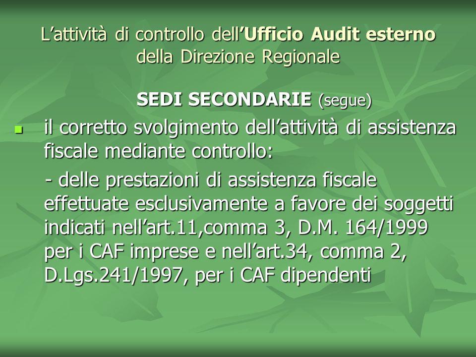 Lattività di controllo dellUfficio Audit esterno della Direzione Regionale SEDI SECONDARIE (segue) SEDI SECONDARIE (segue) il corretto svolgimento del