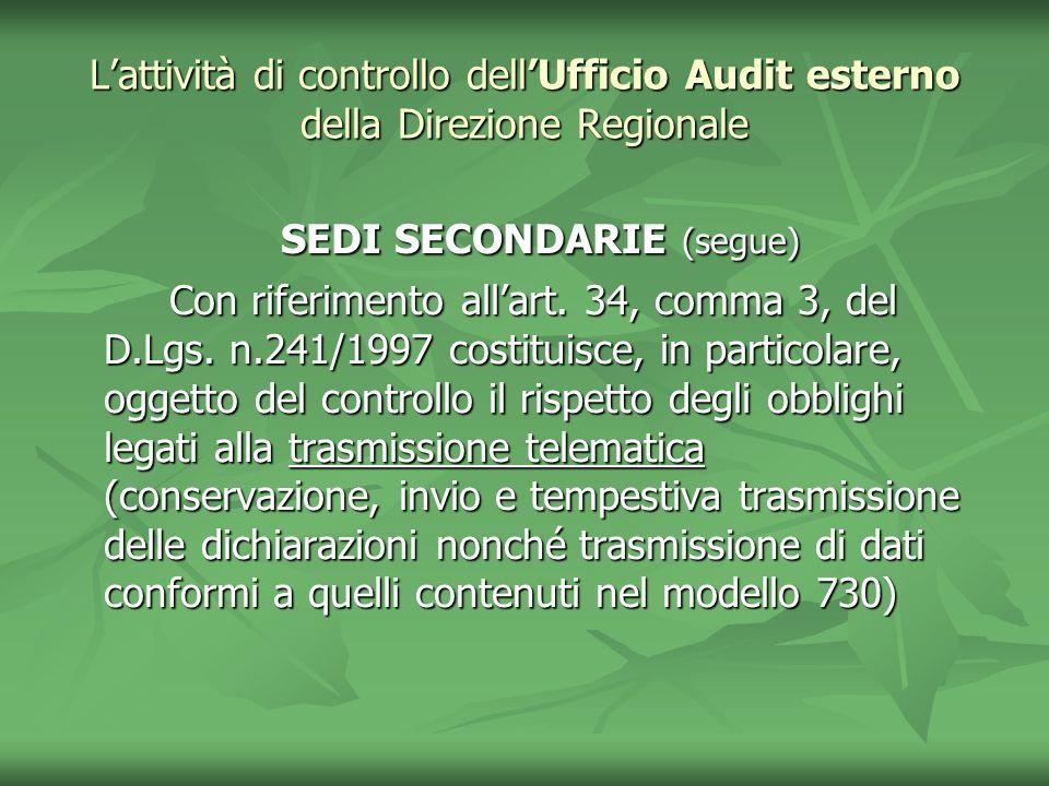 Lattività di controllo dellUfficio Audit esterno della Direzione Regionale SEDI SECONDARIE (segue) SEDI SECONDARIE (segue) Con riferimento allart. 34,