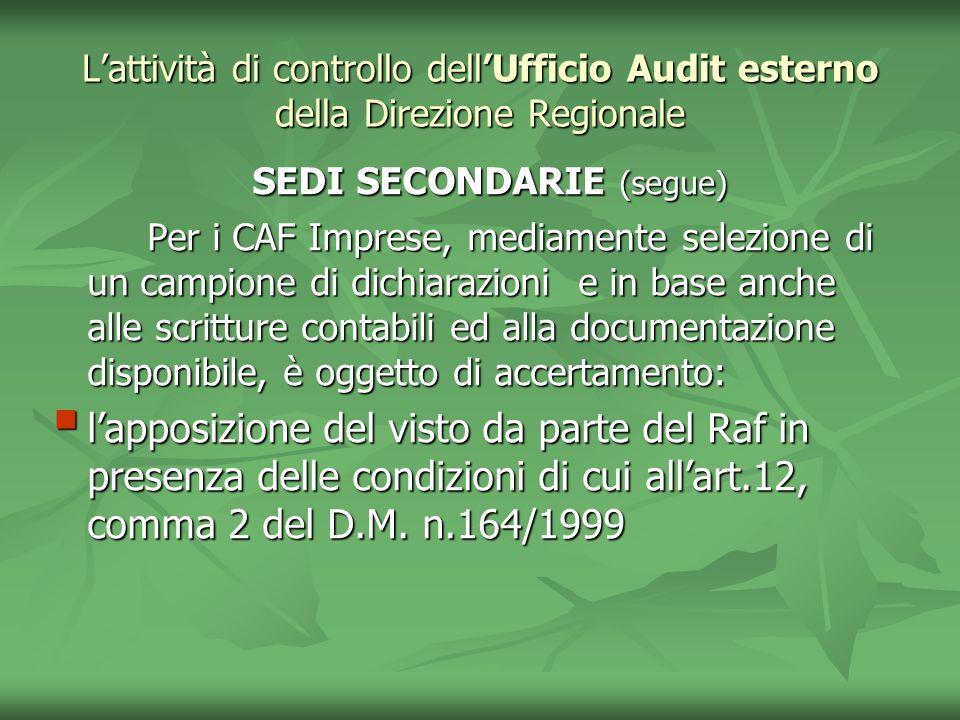 Lattività di controllo dellUfficio Audit esterno della Direzione Regionale SEDI SECONDARIE (segue) SEDI SECONDARIE (segue) Per i CAF Imprese, mediamen