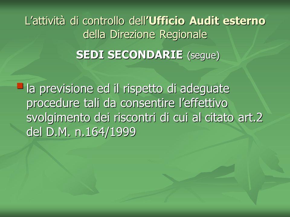 Lattività di controllo dellUfficio Audit esterno della Direzione Regionale SEDI SECONDARIE (segue) SEDI SECONDARIE (segue) la previsione ed il rispett
