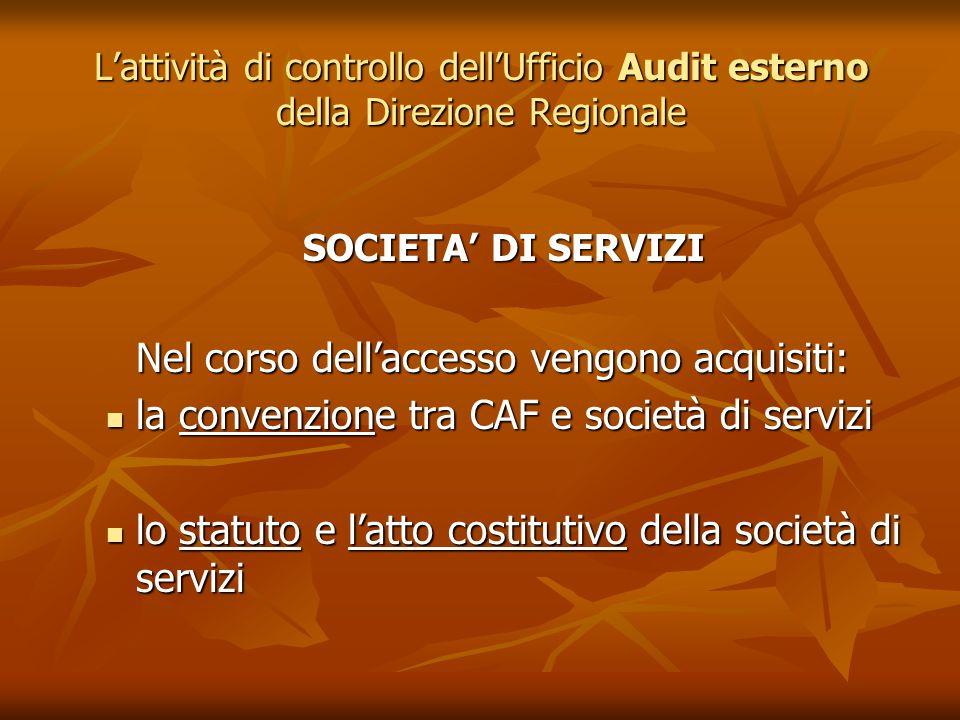 Lattività di controllo dellUfficio Audit esterno della Direzione Regionale SOCIETA DI SERVIZI Nel corso dellaccesso vengono acquisiti: la convenzione