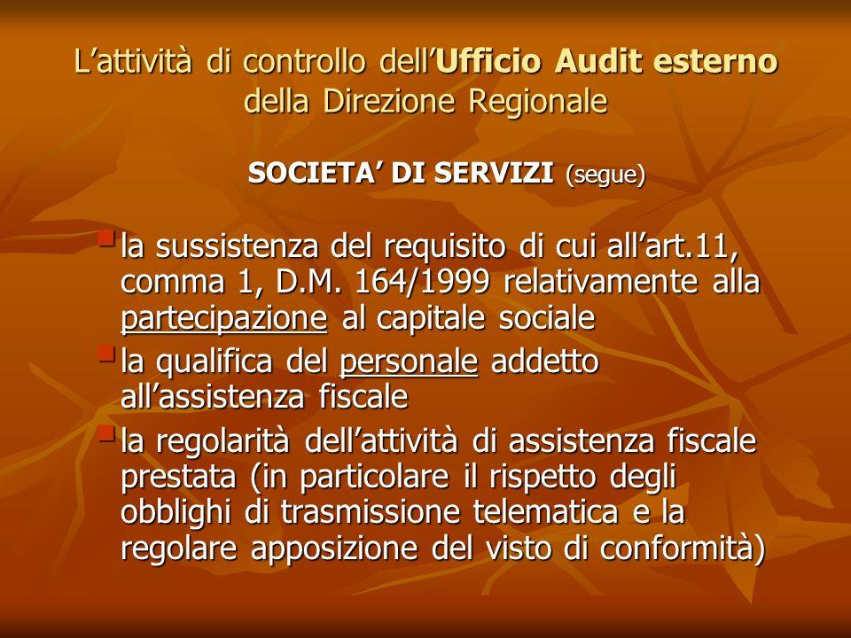 Lattività di controllo dellUfficio Audit esterno della Direzione Regionale SOCIETA DI SERVIZI (segue) la sussistenza del requisito di cui allart.11, c
